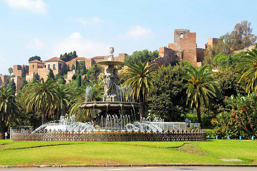 Fountain, Malaga, Spain, Alcazaba, Garden, Moorish