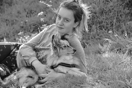 Girl, Young Girl And Her Dog, Black And White Photo