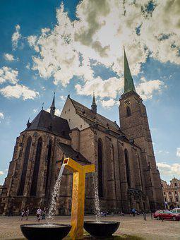 Building, Cathedral, High, Tower, Heaven, Clouds, Stone