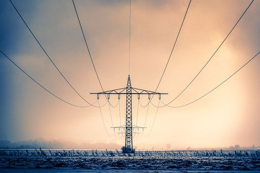 Winter, Current, Landline, Energy, Power Cable, Snow