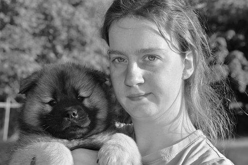 Dog, Young Girl And Her Dog, Puppy