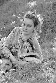 Girl, With His Dog, Black And White Photo