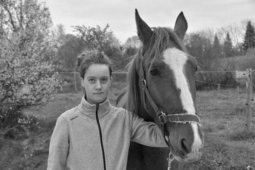 Young Girl With Horse, Black And White Photo
