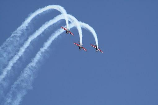 Aircraft, Flugshow, Formation, Event, Fly, Aerobatics