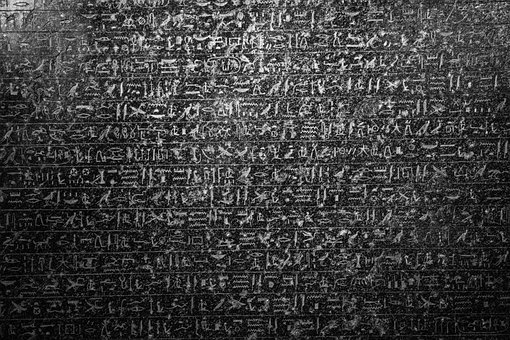 Hieroglyph, Black And White, Dark, Egyptian, Black