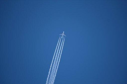 Aircraft, On A Jet Plane, Trace, Blue, Sky, Fly, Wing