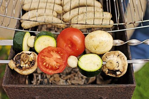 Barbecue, Grill, Spies, Sausage, Charcoal, Food, Garden