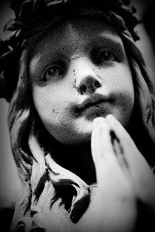 Praying, Angel, Sculpture, Graveyard, Child, Heaven