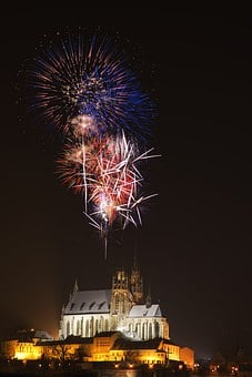 Fireworks, Church, Evening, Night, New Year, Radiant