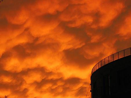 Silo, Orange, Sky, Sunset, Dusk, Urban, Eerie, Spooky
