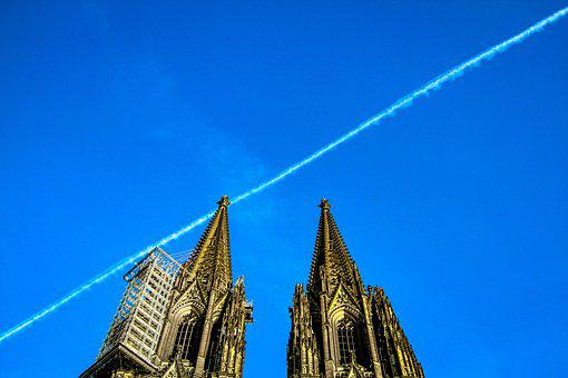 Aircraft, Cathedral, Germany, Cologne, Sky, Plane Trace