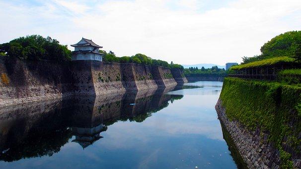 Moat, Osaka Castle, Japan, Osaka, Landmark, Asian Style