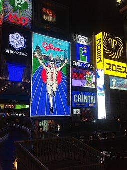 Running Man, Japan, Osaka, Dotonbori, Night View, Led