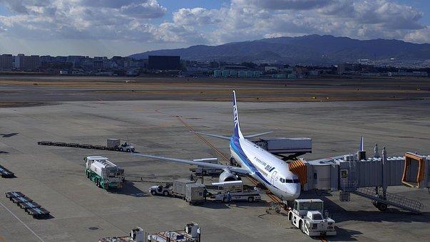 Japan, Blue Sky, Osaka Airport, Osaka, Airplane