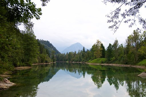 Riparian Zone, Lake, Pond, Mountains, Forest Glade