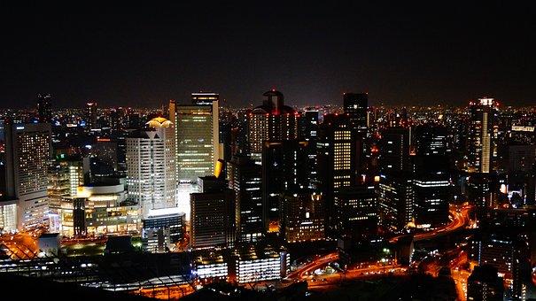 Night View, Osaka, Japan, Sky Building