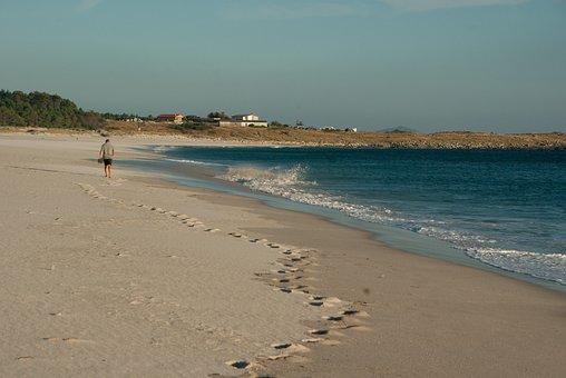 Spain, Galicia, Beach, Solitude, Traces, Ocean
