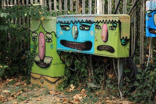 Graffiti, Boxes, Painting, Drawings, Figure, Drawing