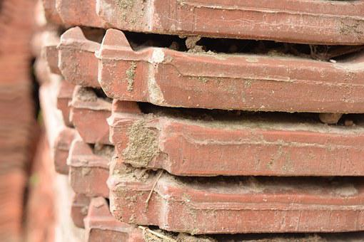 Tile, Roofing, Red, Sound, Burned, Weathered, Stack
