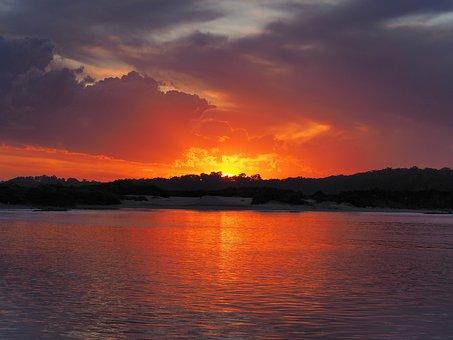 Sunset, Sun, Red, Orange, Yellow, Clouds, Sky, Water