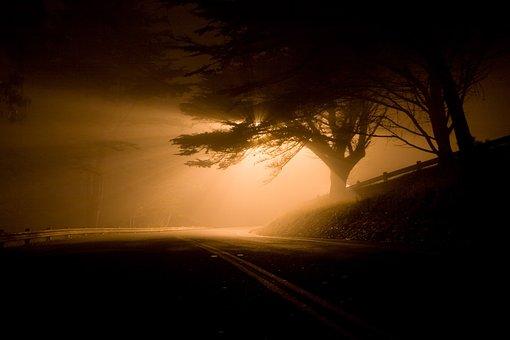 Landscape, Night, Road, Shafts Of Light, Fog, Eerie