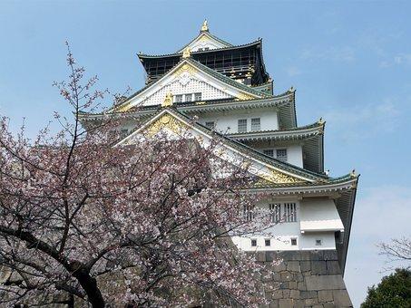 Japan, Osaka, Castle, Chuo-ku, Landmark, Spring, Sakura