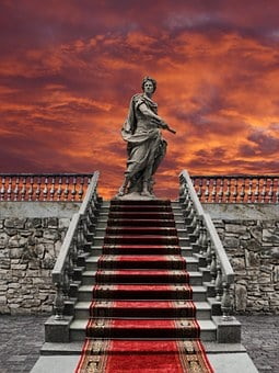 Sunset, Stairs, Staircase, Statue, Sculpture, Red