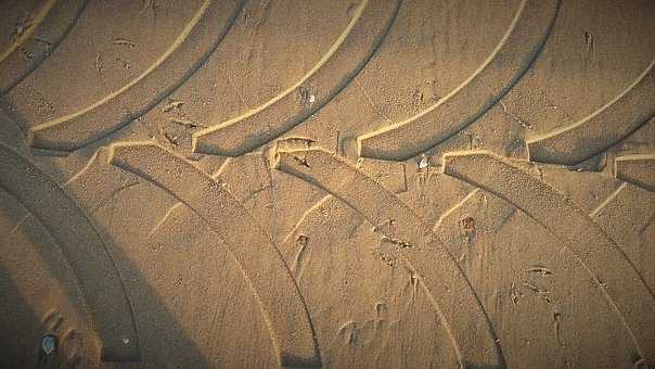Sand, Trace, Tractors, Mature, Reprint, Tire Tracks