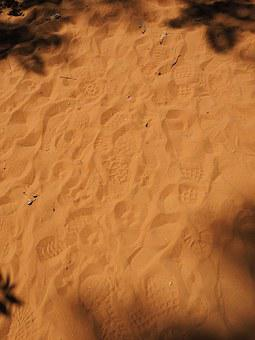 Traces, Sand, Tracks In The Sand, Footprints, Yellow