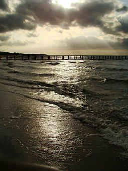 Beach, Baltic Sea, Sea, Web, Water, Distant, Wide