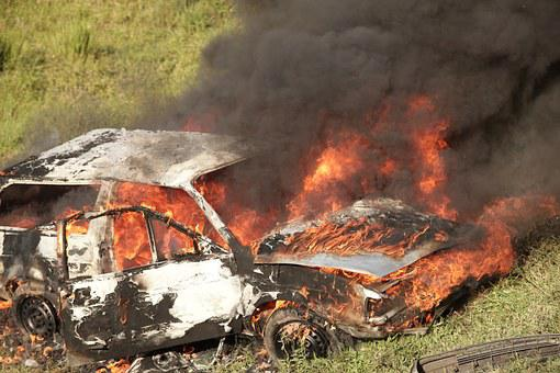 Car, Burning, Wreck, Fire, Accident, Danger, Flame