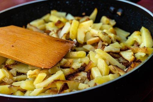 Potatoes, Fried, Food, Potato, Frying Pan, Closeup