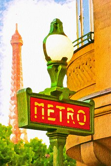 Watercolor, Paris Metro, Paris, France, Metro, City