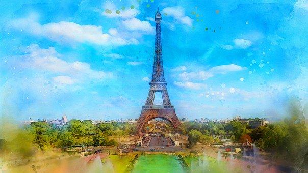 Paris, Eiffel Tower, Landmark, Landscape, Watercolor