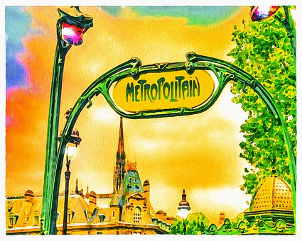 Watercolor, Paris Metro, Paris, France