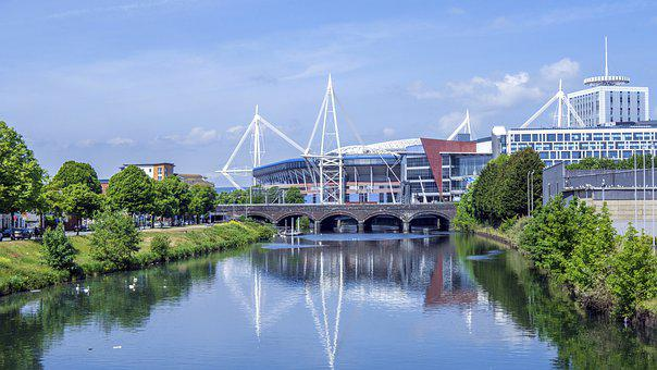 Cardiff, Stadium, River, Bridge, Cityscape, Wales