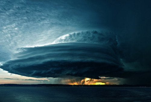 Forward, Tornado, Storm, Clouds, Lake, Composing