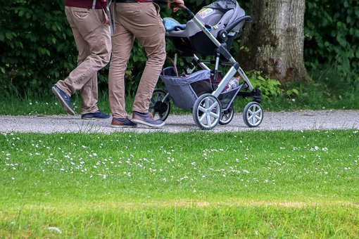 Parents, Parents Time, Baby Carriage, Walk, Family