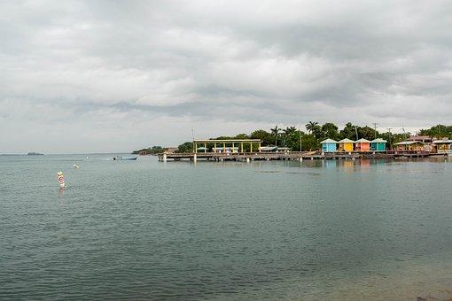 Pier, Dock, Village, Placencia, Belize, Ocean, Calm