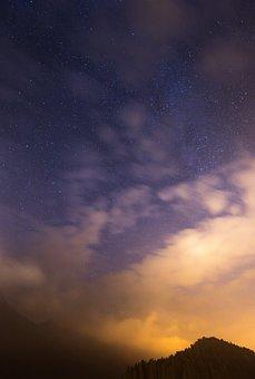 Stars, Sky, Outdoors, Silvaplana, Engadine, Purple