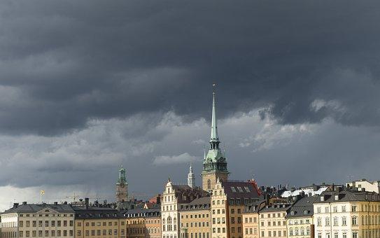 Storm, Cloud, Rain, Himmel, City, Church