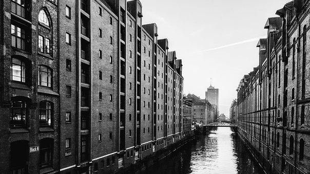 Hamburg, Fleet, Architecture, Building, Brick, Water