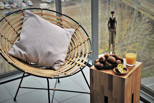 Balcony, In The Morning, Armchair, Design, Breakfast