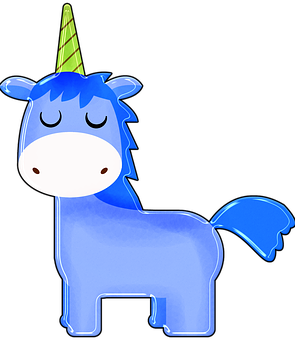 Unicorn, Cartoon, Blue, Boy Unicorn, Happy, Colorful