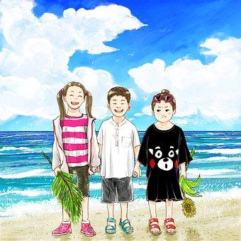 Cartoon, Painting, Fantasy, Creativity, Seaside, Summer