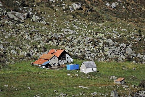 Rocks, Cabin, Hat, Alpine, Slope, Meadows, Rock, Alp