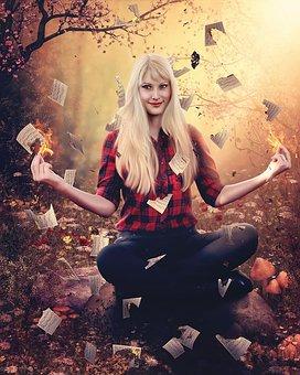 Halloween, Fire, Photoshop, Blonde, Halloween Photo