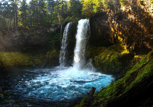 Oregon, Waterfall, Pacific Northwest, Water, Blue, Pool