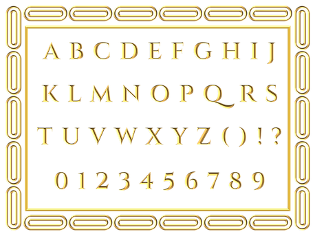 Gold, Letters, Alphabet, Border, English, Alphabets