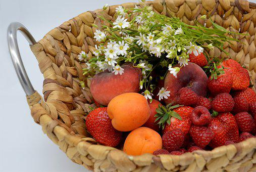 Fruit Basket, Basket, Fruit, Fruits, Strawberries